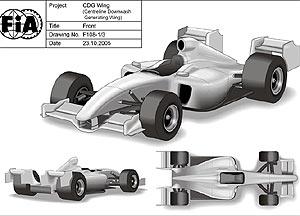 Mô hình chiếc F1 với cánh gió kiểu mới.