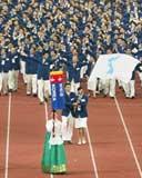 Vận động viên hai miền Triều Tiên diễu hành chung tại Á vận hội 2002.