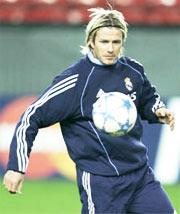 Beckham hướng tới trận đấu thứ 100 ở Champions League.