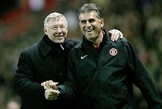 Niềm vui của Alex Ferguson và trợ lý Carlos Queiros.