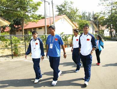 Đội U23 VN trong làng VĐV. Ảnh: Trường Huy.