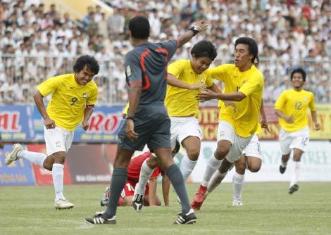 Thái Lan ăn mừng chiến thắng.