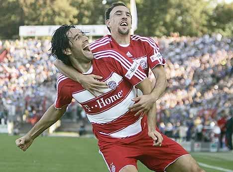 Ribery (phải) và Toni cùng gia nhập Bayern năm 2007.