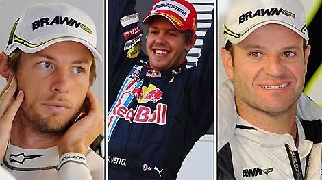 Vettel và Barrichello (ở giữa và bên phải) không có nhiều cơ hội đuổi kịp Button.