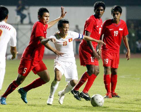 Singapore thua toàn diện trước U23 Việt Nam. Ảnh: An Nhơn.