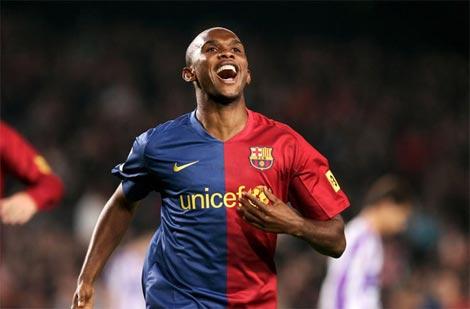 Eto'o chia vui một trong số bốn bàn thắng ghi vào lưới Valladolid trong trận đấu ở mùa trước.