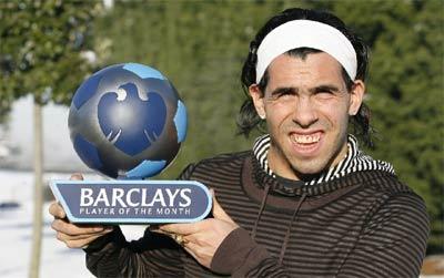 Tevez và danh hiệu cầu thủ hay nhất Premier League tháng 12/2009.
