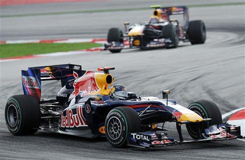 Red Bull chiến thắng một hai tại GP Malaysia, và hiện đứng thứ ba trong bảng vị trí đội đua. Ảnh: AFP.