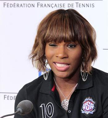 Serena Williams tại buổi họp báo trước giải.