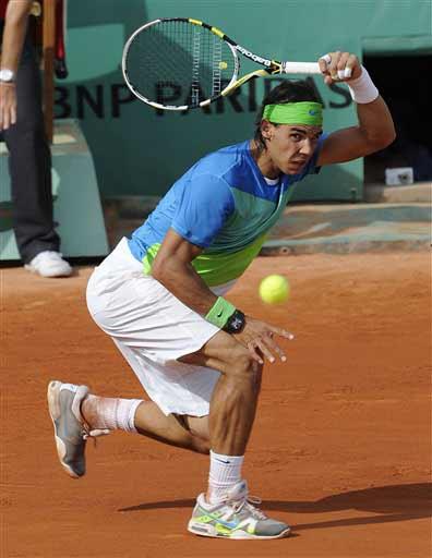 Nadal trong trận đấu hôm thứ ba tại giải Pháp mở rộng.