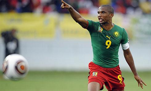 Eto'o, thủ lĩnh và là người soi đường cho tuyển Cameroon tại World Cup 2010. Ảnh: AFP.
