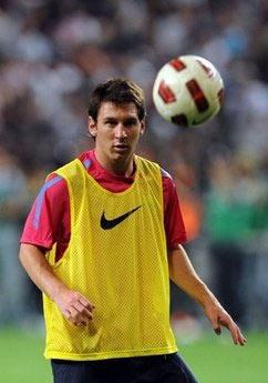 Messi trên sân tập tại Seoul, Hàn Quốc hôm qua.