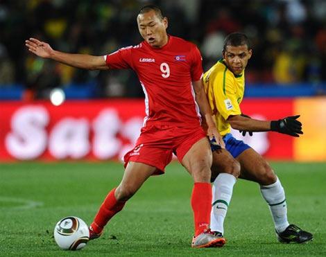 Bắc Triều Tiên trong trận thua 1-2 trước Brazil ở World Cup 2010.