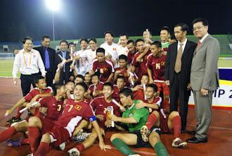 U16 Việt Nam mừng chức vô địch. Ảnh: AFF.