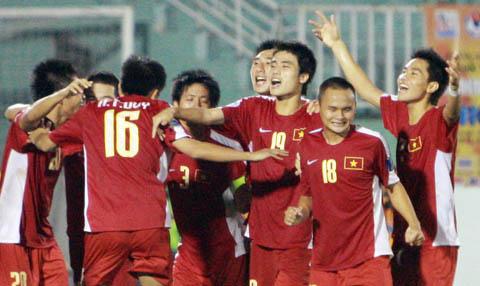Niềm vui mừng của U19 Việt Nam. Ảnh: An Nhơn.