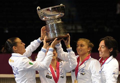 Đội Italy đón Fed Cup. Ảnh: AFP.