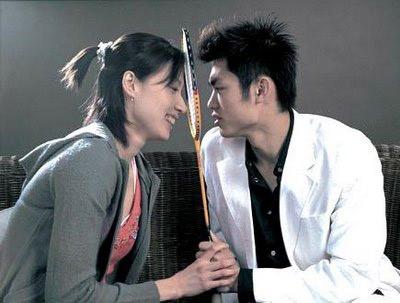 Lin Dan (bên phải) và bạn gái xinh đẹp Xie Xingfang.