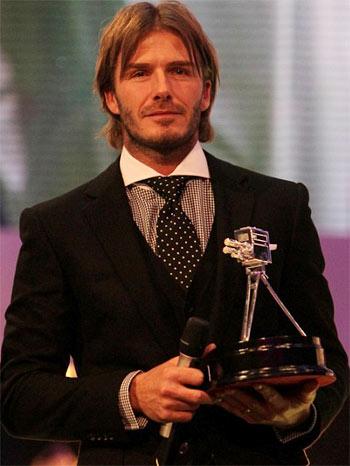Beckham trong lễ nhận giải thưởng tối qua.