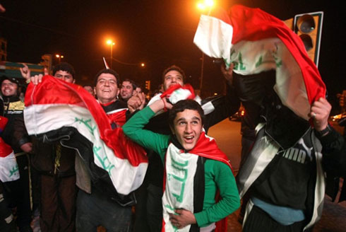 Rất đông người Iraq đổ ra đường vì phấn khích sau thắng lợi của đội nhà. Ảnh: AFP.