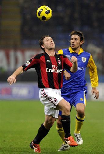 Cassano dần chứng tỏ anh là sự tăng cường hợp lý của Milan trong tháng 1 vừa qua. Ảnh: AFP.