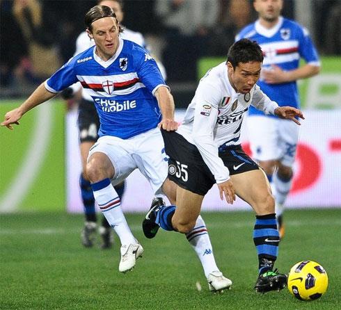 Chiến thắng khó nhọc trước Sampdoria đặt Inter vào thế thuận lợi ở chặng cuối cuộc đua tranh scudetto. Ảnh: AFP.