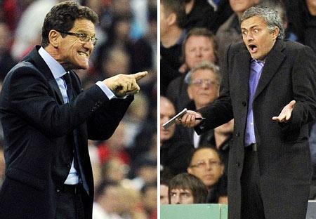 Capello (trái) tỏ ra không ưa Mourinho.