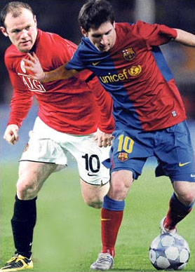 Rooney và Messi là những cầu thủ đắt giá nhất của hai đội.