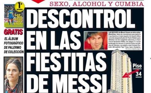 Tin về cuộc thác loạn của Messi được Libre đưa lên trang nhất.