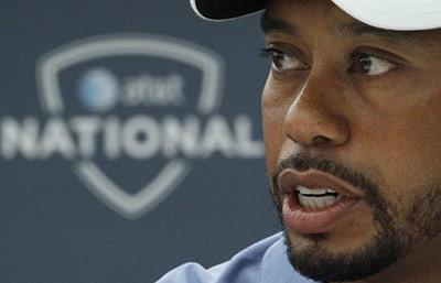 Woods trong buổi họp báo trước giải AT&T.