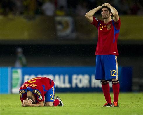 Tây Ban Nha phải ra về sớm, dù là đội chơi hay hơn. Ảnh: AFP.
