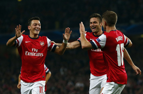 Arsenal's Ozil celebrates with teammates after scoring a goal against Napoli during their Champions League soccer match at the Emirates stadium in London