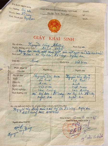 Địa phương xác nhận Công Phượng sinh năm 1995