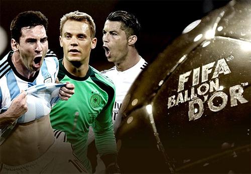 Ronaldo, Messi, Neuer lọt vào top 3 tranh Quả bóng vàng