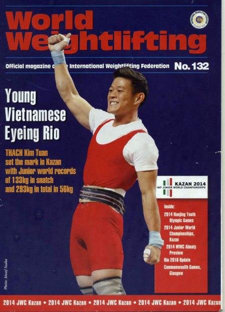 Kim Tuấn từng được lên bìa tạp chí cử tạ thế giới vì thành tích nổi bật trong năm nay.
