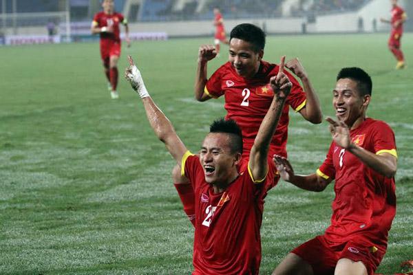 Bàn thắng của Huy Toàn mang nhiều ý nghĩa về tinh thần cho Olympic Việt Nam. Ảnh: Lâm Thỏa.