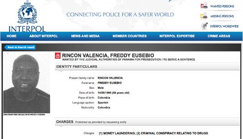 Lệnh truy nã Rincon trên trang web của Interpol.