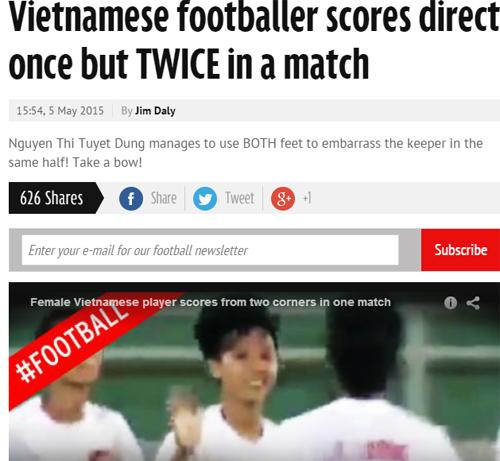 Báo chí châu Âu bái phục hai bàn thắng của Tuyết Dung