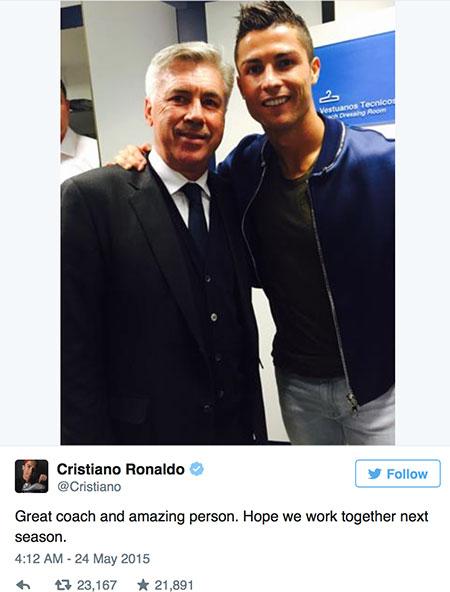 Ronaldo muốn Ancelotti ở lại Real Madrid