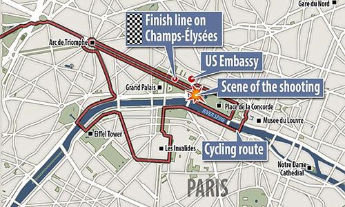 Cảnh sát nổ súng khi Tour de France về đích tại Paris