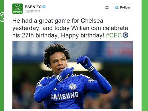 ESPN đăng nhầm ảnh khi chúc sinh nhật cầu thủ Chelsea