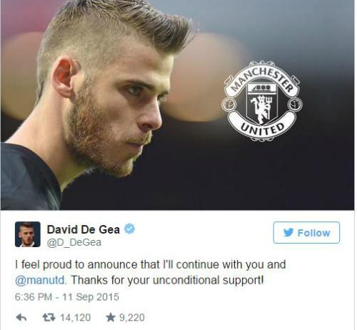 De Gea ký hợp đồng ở lại Man Utd