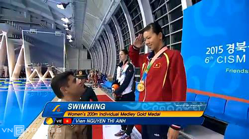 Ánh Viên giành HC vàng, phá kỷ lục giải quân sự thế giới