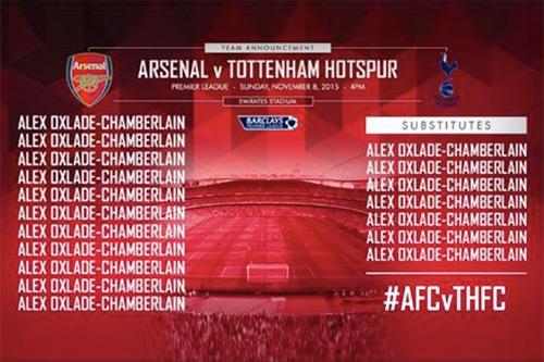 Arsenal công bố nhầm đội hình trước trận derby với Tottenham