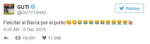 Guti đáp trả Pique, châm biếm Barca về trận hòa Valencia
