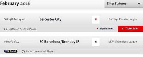 Website Arsenal nhầm tên đối thủ ở vòng 1/8 Champions League