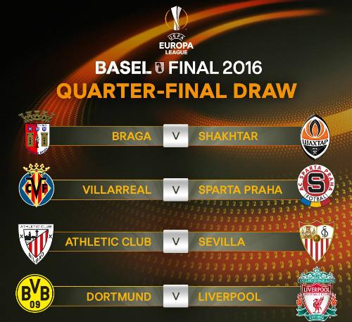 Dortmund gặp Liverpool ở tứ kết Europa League