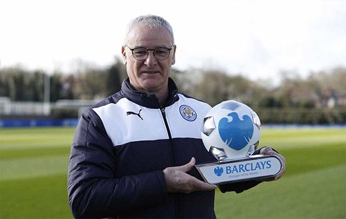 Ranieri lần thứ hai thắng giải HLV hay nhất tháng