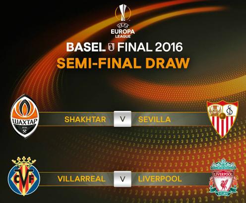 Liverpool chạm trán Villarreal tại bán kết Europa League