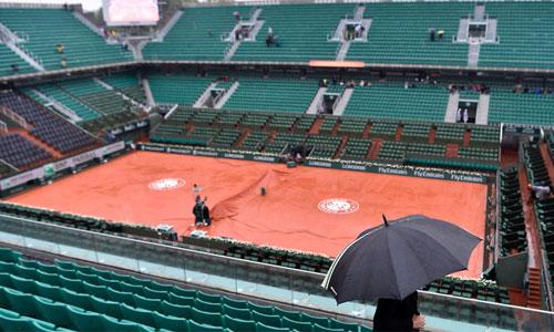 Roland Garros hoãn toàn bộ trận trong ngày thi đấu thứ chín