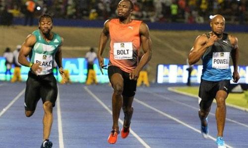 Bolt về nhất cự ly 100m tại quê nhà dù bị vấp